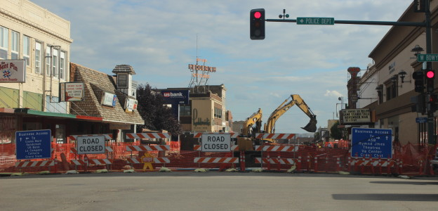 Downtown Williston under construction in fall 2014. Williston, ND has seen its population almost quadruple in the last six years.  The city is currently experiencing a building boom, which includes the $56 million Williston High School.