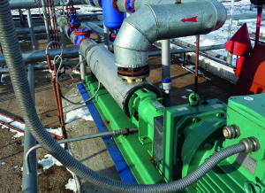 Pump oil, gas and water mixtures with solids.